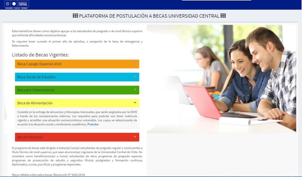 Portal de Postulación de Becas Universidad Central